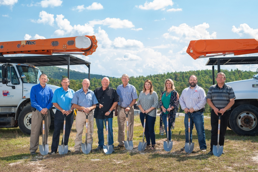 North Arkansas Electric Cooperative board members and staff broke ground on the co-op's solar farm west of Salem on Sept. 17. Pictured, from left, are Jason Strong, engineering manager; Dennis Wiles, director; Mike Dover, director; Mel Coleman, CEO;  Larry Goodwin, director; Julie Haney, chief financial officer; Lacey Johnson, HR manager; James Woody, operations manager; and Cameron Davis, director.
